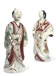 TWO JAPANESE IMARI STANDING FI