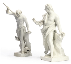 TWO VIENNA WHITE PORCELAIN FIG