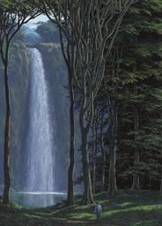 Caminante y cascada