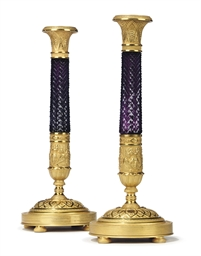 A PAIR OF RUSSIAN ORMOLU AND A