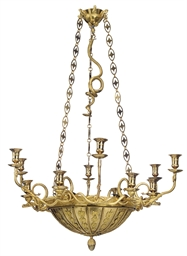 A RUSSIAN ORMOLU TWELVE-LIGHT