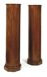 A PAIR OF BALTIC MAHOGANY COLU