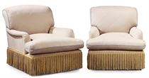 A PAIR OF MODERN UPHOLSTERED CAMEL WOOL ARMCHAIRS