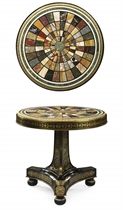 A REGENCY ORMOLU-MOUNTED, BRASS-INLAID EBONY AND ITALIAN SPECIMEN MARBLE CENTRE TABLE
