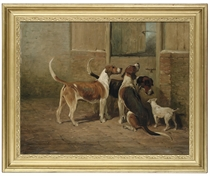Foxhounds and a lakeland terrier by a stable door