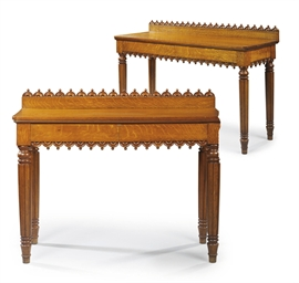 A PAIR OF OAK SERVING-TABLES