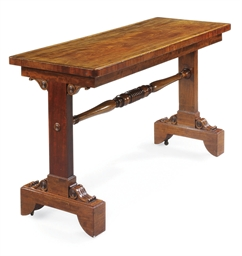 A REGENCY MAHOGANY TRESTLE-END