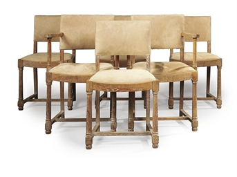 A SET OF SIX LIMED OAK DINING-