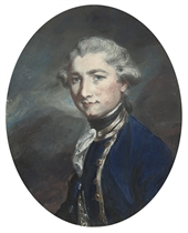 Portrait of a young man, half-length, wearing a blue coat with gold braid