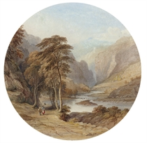 Figures on a riverside path in a mountainous landscape (illustrated); and View of a lake surrounded by mountains