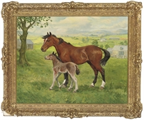 A mare and a foal, mist over the hills