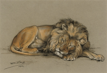 A sleeping lion (illustrated);