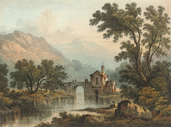 An angler in a landscape with