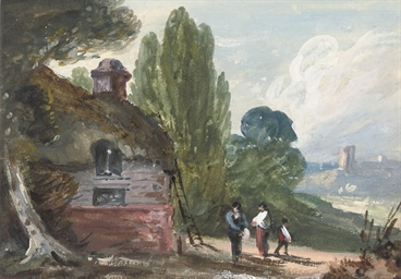 Figures by a barn in a landsca