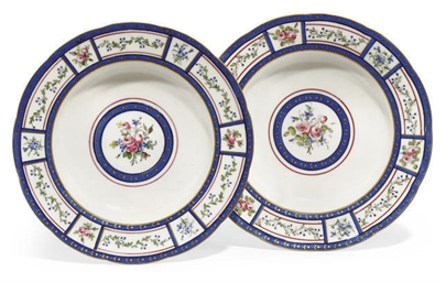 A PAIR OF SEVRES SOUP-PLATES