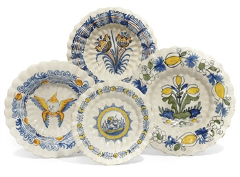 FOUR DUTCH DELFT POLYCHROME FL
