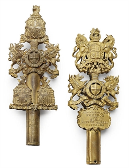 TWO VICTORIAN GILT BRASS TIPSTAFF HEADS