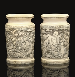 A Pair of Carved Ivory Vases,
