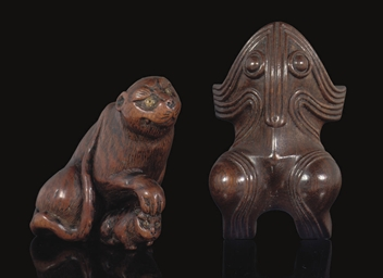 Two wood Netsuke, Signed, 19th
