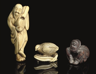Seven wood and ivory netsuke,