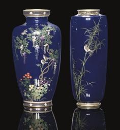 Two Cloisonne vases, Meiji Per