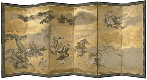 A six fold screen, 19th centur