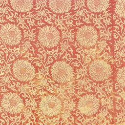 A PANEL OF RED SILK