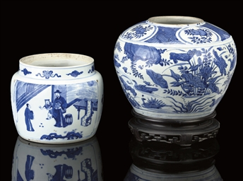 TWO BLUE AND WHITE JARS, 17TH