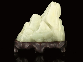 A PALE CELADON JADE MOUNTAIN G