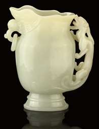 A WHITE JADE EWER, 19TH CENTUR