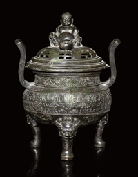 A LARGE BRONZE TRIPOD CENSER A