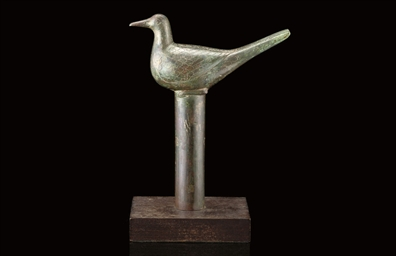 A BRONZE BIRD-FORM FINIAL, HAN