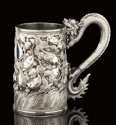 A SILVER TANKARD, MAKERS MARK