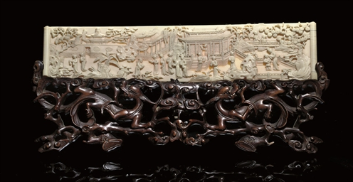 A CARVED IVORY PLAQUE, 19TH CE