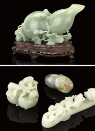 FOUR CELADON JADE CARVINGS, 19