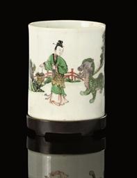 A Famille verte brushpot, Kang