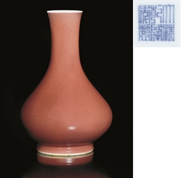 An ox-blood glazed bottle vase