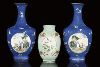 THREE FAMILLE ROSE VASES, 20TH