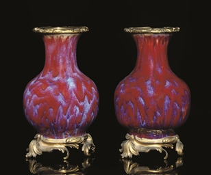 A PAIR OF ORMOLU-MOUNTED FLAMB