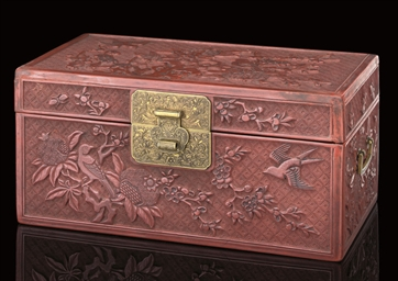 A CINNABAR LACQUER BOX AND HIN