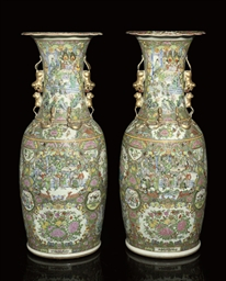 A PAIR OF LARGE CANTONESE VASE