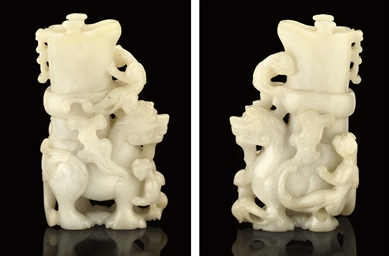 A WHITE MUTTON FAT JADE VASE,