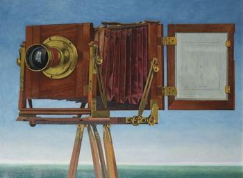Portret van een camera aan zee