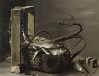 A still life with fish in a ba