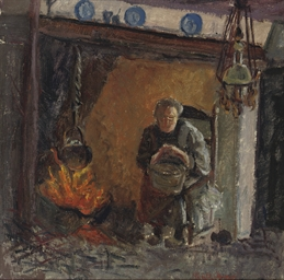 Woman by a fire place