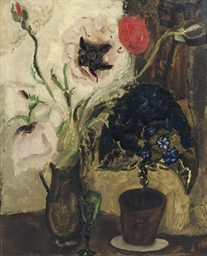 A still life with flowers and