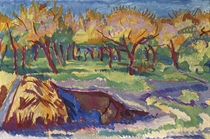 A sunlit orchard (recto); Trees along the meadows (verso)