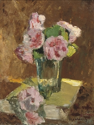 A still life with roses in a v