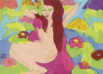 Female nude amongst flowers
