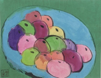 A still life with apples in a
